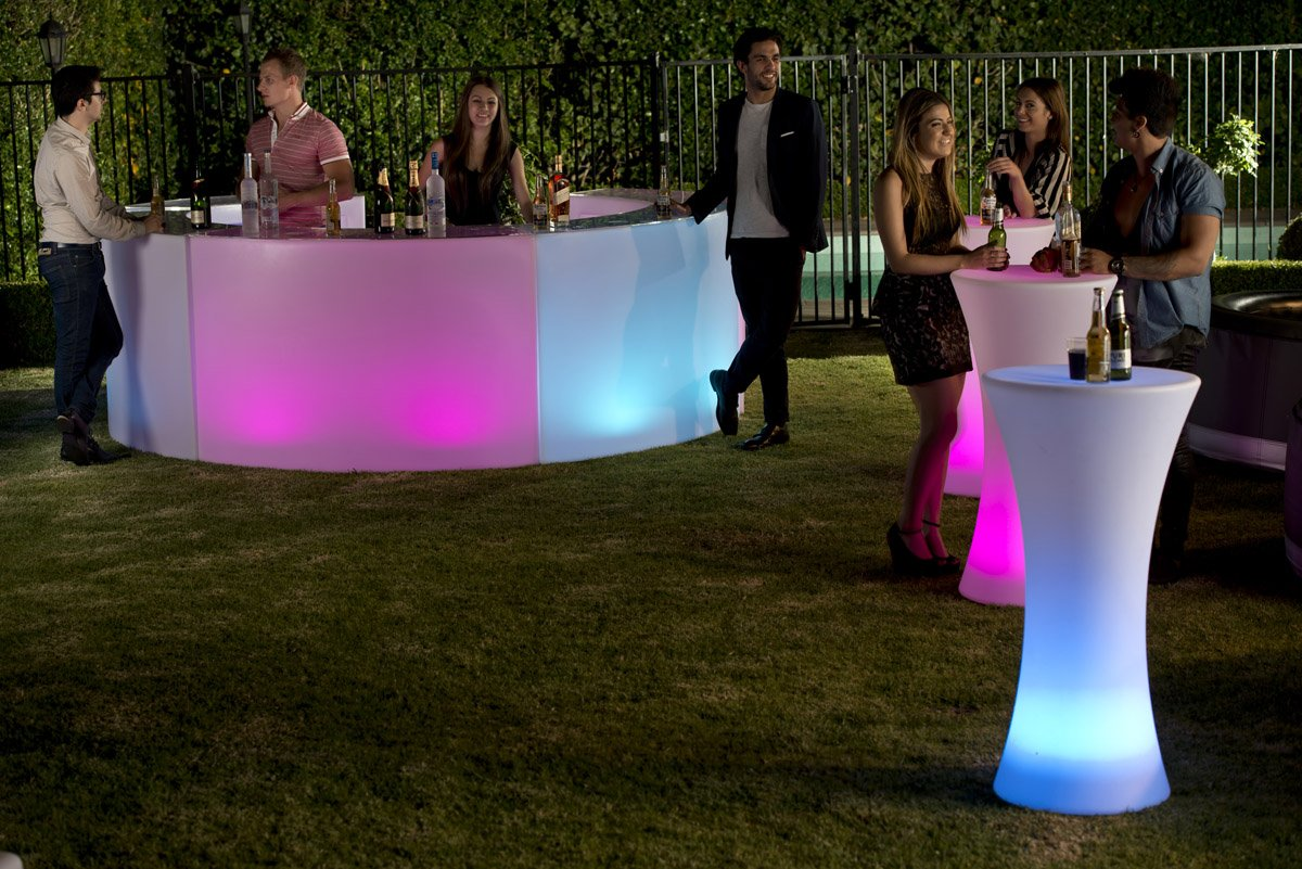 Lighting Up Led Bar Furniture Table Curved Counter