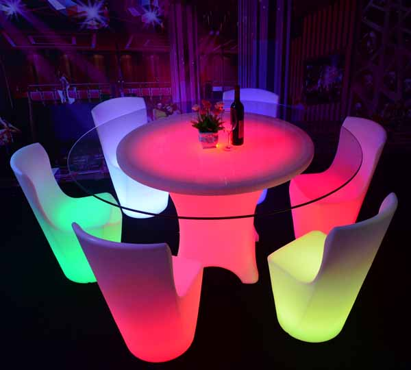 Glow Round Shape Led Dining Table For Restaurant Wedding Event