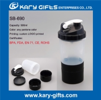 500ml shaker bottle plastic logo printing protein shaker bottle SB-690