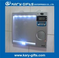 Anti Fog LED Light Up Shower Shave Mirror With Radio And Clock SM 8001